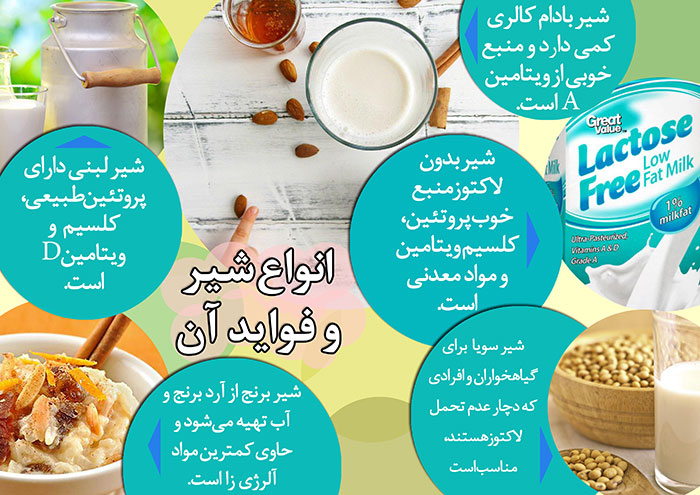 انواع شیرهای گیاهی و فواید آن